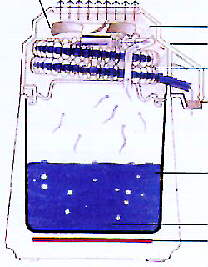 Chlorine and other volatile substances are turned to gas and leave the distillation